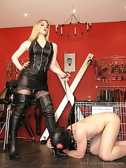 The caged slave is here for domina`s relief
