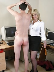 Lady spanked office boy by hairbrush