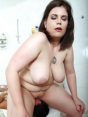 BBW female-dom Lucrecia gets obese a-hole worshipped by boy