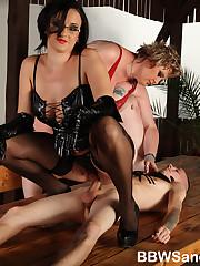 BBW dominatrixes and a slender boy-slave