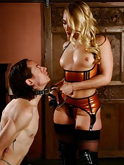 Mistress AJ Applegate orders her bondman to worship her boots