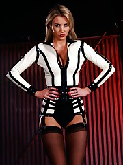 Dominatrix Gigi Allens commands your submission in her white hot latex outfit