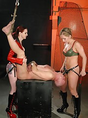 Dommes abuse a slave