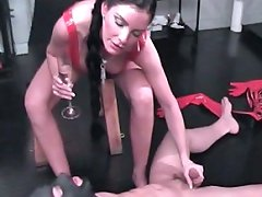 Well-hung slave is forced to obey his harsh mistress`s every command