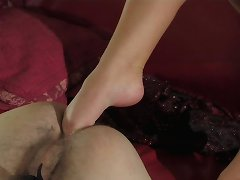 Foot fisting for an eager slave