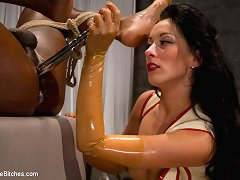 Slave has to lick all holes of his mistress.