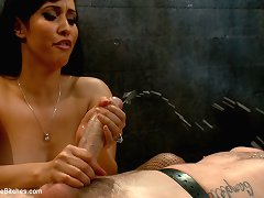 Mistress bounds and pinches slave�s cock before fucking him