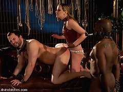 Young, sexy mistress used her two slaves as she wants.