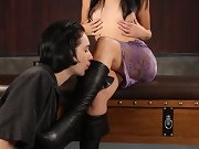 Slaveboy is cleaning mistress` boots by tongue