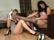 These horny babes love worshipping nylon and heel covered feet