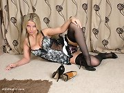 Blonde with nice round tits wearing horny nylons and high heels