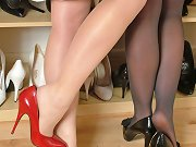 Two cheeky ladies dressed in sexy nylons and gorgeous high heels
