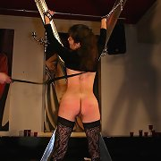 Submissive girl was bullwhipped