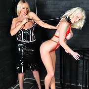 Stunning blonde slavegirl is let out her cage to..