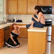 Maid licked feet on the kitchen