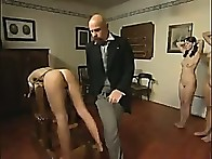 Pretty youthful maid bends over for a severe torture with the cane