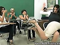 Babe with cool butt was spanked at school