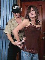 Prison guard spanks brunette prison bitch.