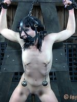 The Master sprays slave Katharine Cane with hot sperm