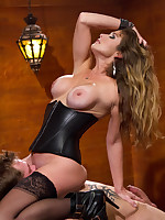Strict knavish leather domina wanked a man, fucked him and smohered