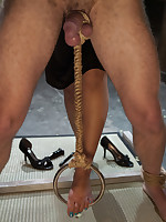 Slaveboy is flogged and teased by lovely Mistress