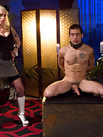 Deviant mistress teases and jerks male cock