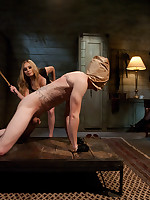 Hooded slaveboy endures CBT from Blonde Mistress