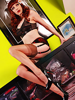 Emily Marilyn redhead temptress dolled roughly in vintage lingerie, stockings, heels in hot XXX dildo explicit action