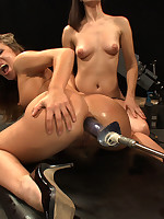 Bobbi Star, Lorelei Lee, Kristina Rose and Annie Cruz screwing ever after other with lofty power machines, audience screwing them, fisting squirting, messy sex