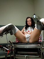 Hot nurse sex! Nipples clamped w/surgical while the brush pussy is pounded, & gyno bench spreads the brush wide for fucking w/inflatable, pulsing..