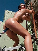 Double penetration fucking machine by the pool
