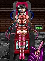 Collared hentai beauties confined in strict bondage