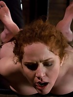 Harsh bondage and clamps for kinky lady