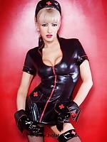Evil nurse in black latex