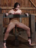 Slave endures tit torture, degradation, heavy chains