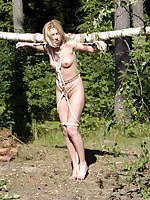 Naked blonde lashed to a pole and left outdoors