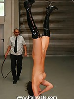 Slut suspended down and bullwhipped