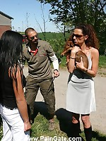 Brunette bullwhipped outdoor