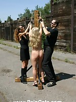 Confined and brutally whipped outdoor