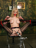 Hot blonde tied wide open and forced to cum