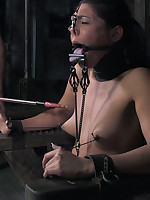 Bound, caned, and humiliated slavegirl with Halloween twist