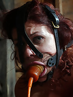 Stocks, head cages and rope suspension await for lovely redhead