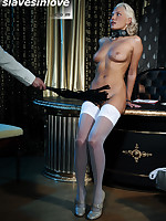 Glamorous blonde spread, probed, flogged by stern Master