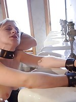 Pretty girl bound and fucked in toilet