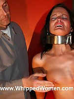 Collared slave has tits and pussy whipped