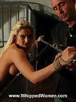 Naughty blonde prisoner ass whipped as punishment