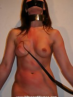 Naked girl collared, gagged with tape and whipped
