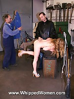 Blonde endures painful whipping on ass and thighs