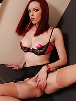 Emily Marilyn dolled up in retro lingerie & true vintage stockings - spread!