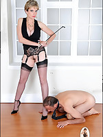 Bare-assed Domme teases her bottom boy